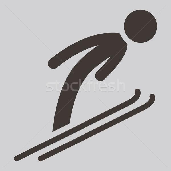 Sí ugrik ikon téli sport ikonok tél Stock fotó © iaRada