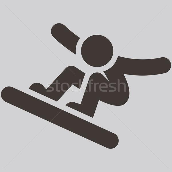 Snowboard ikona tle lodu zimą Zdjęcia stock © iaRada