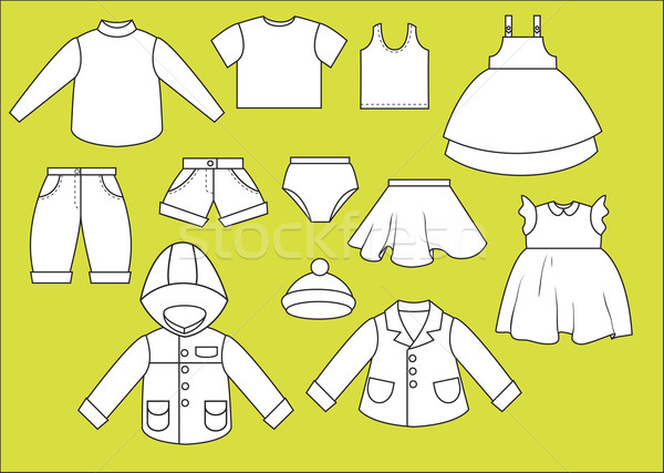 A set of different types of clothing. Contour drawing Stock photo © iaRada