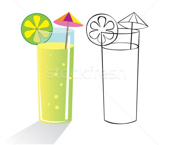 Koktél üveg ital esernyő gyümölcs szín Stock fotó © iaRada