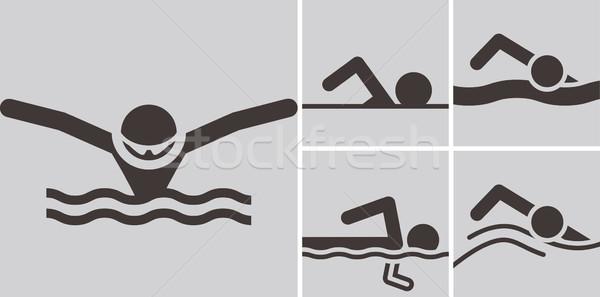 úszik ikonok nyár sportok ikon szett víz Stock fotó © iaRada