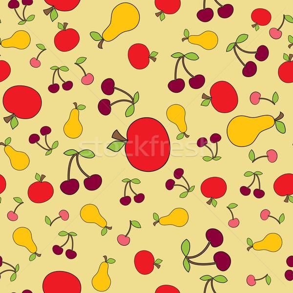 Bezszwowy inny owoców sztuki malarstwo tapety Zdjęcia stock © iaRada