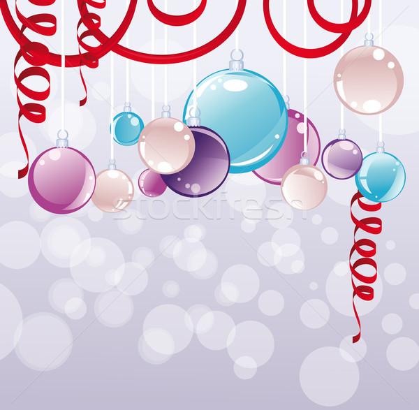 Karácsony golyók üveg szépség sziluett ünnep Stock fotó © iaRada