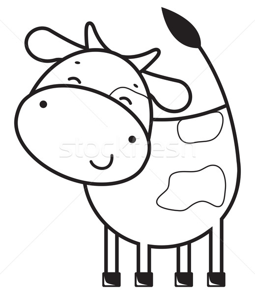 Grappig schets koe gelukkig leuk hoofd Stockfoto © iaRada