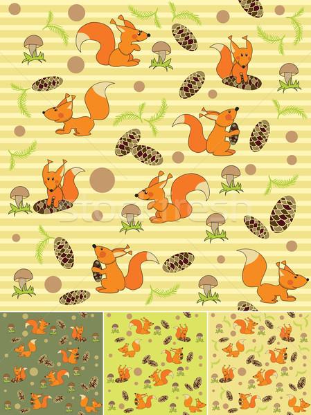 Cztery bezszwowy wiewiórki zabawy tle sylwetka Zdjęcia stock © iaRada
