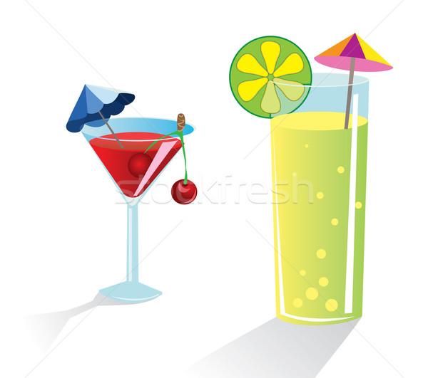 Stock fotó: Koktél · üveg · kettő · szemüveg · italok · esernyők