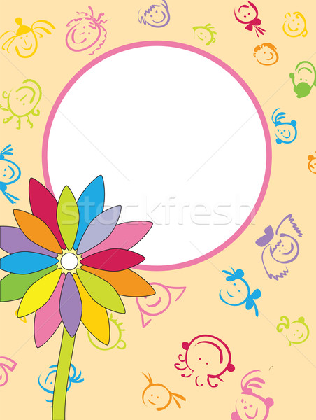 Keret virág mosoly fényképkeret levél háttér Stock fotó © iaRada