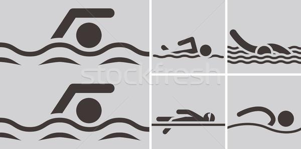 Natación iconos verano deportes agua Foto stock © iaRada