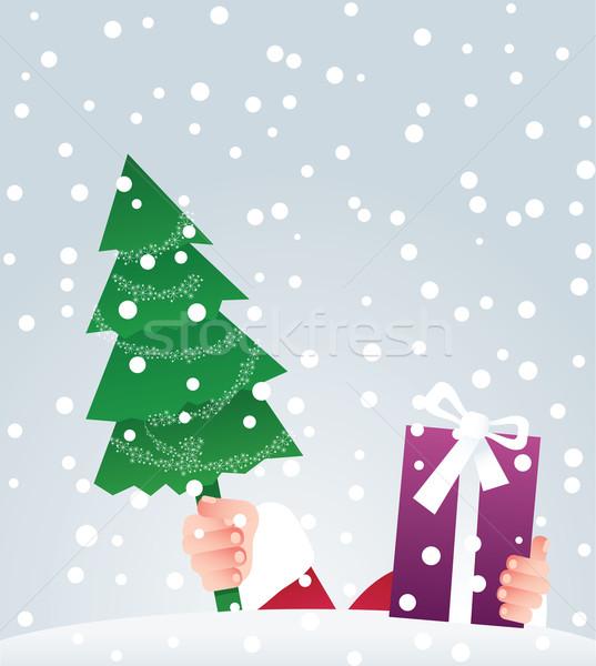 Święty mikołaj dar prezenty górę śniegu Zdjęcia stock © iaRada