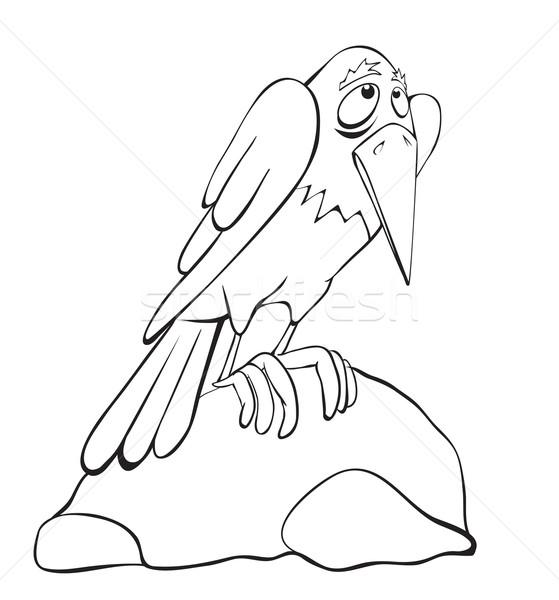 Kontur kruk kamień ptaków zwierząt czarny Zdjęcia stock © iaRada