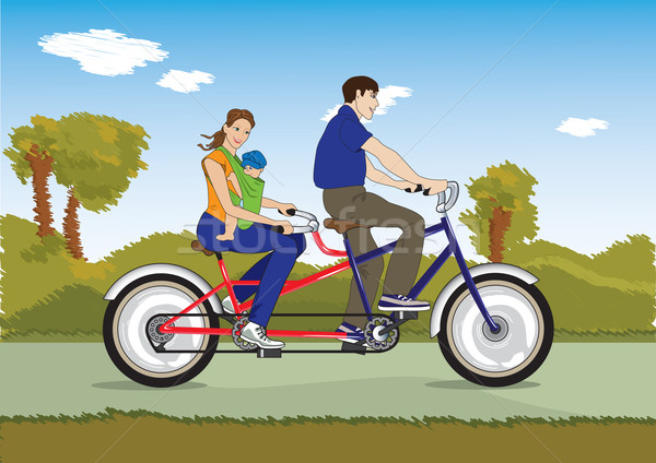 Married couple with baby on a bicycle Stock photo © iaRada