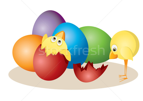 Easter eggs and chickens Stock photo © iaRada
