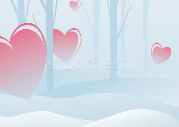 Valentijnsdag winter bos natuur sneeuw achtergrond Stockfoto © iaRada