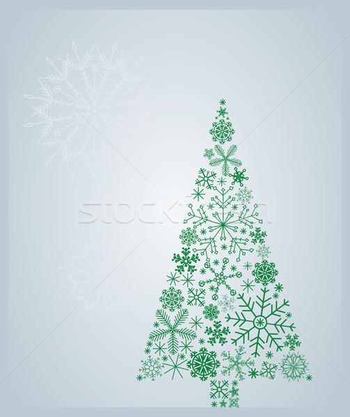 árbol árbol de navidad nieve arte estrellas Navidad Foto stock © iaRada