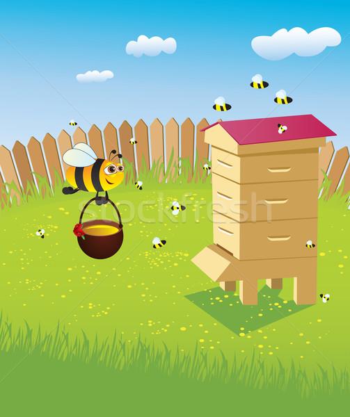 ハイブ ミツバチ 蜂の巣 食品 夏 緑 ストックフォト © iaRada