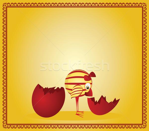 Wielkanoc karty easter egg kurczaka jaj zwierząt Zdjęcia stock © iaRada