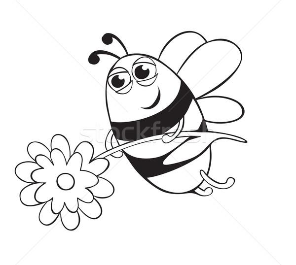 Méh virág körvonal kép háttér jókedv Stock fotó © iaRada