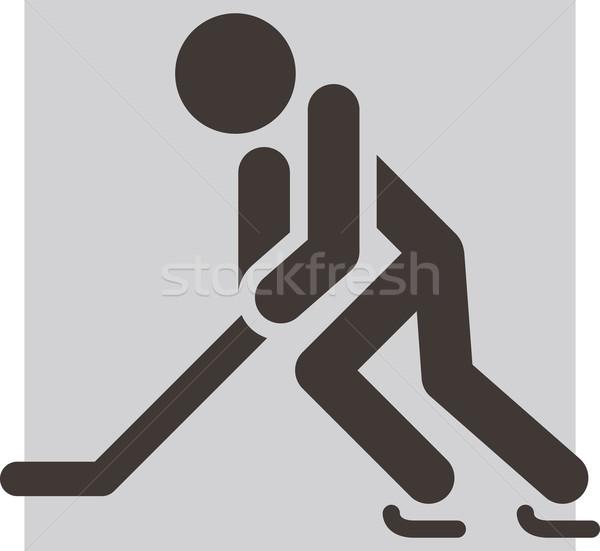 Hockey icon wintersport sport silhouet skate Stockfoto © iaRada