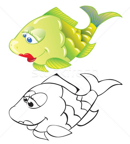 Jókedv rajz hal izolált fehér skicc Stock fotó © iaRada