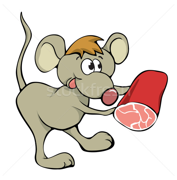 マウス 食品 ハム チーズ 動物 動物 ストックフォト © iaRada
