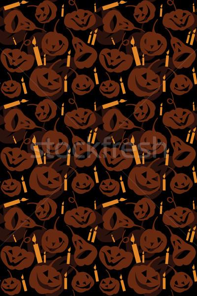 Halloween naadloos pompoenen zwarte najaar patroon Stockfoto © iaRada