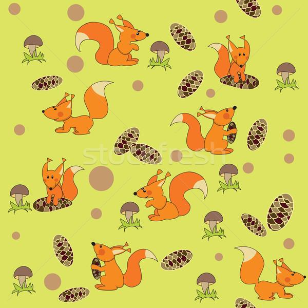 Jókedv végtelenített mókusok festmény sziluett állat Stock fotó © iaRada