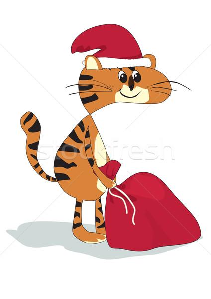 Macska mikulás ajándékok sapka táska festék Stock fotó © iaRada