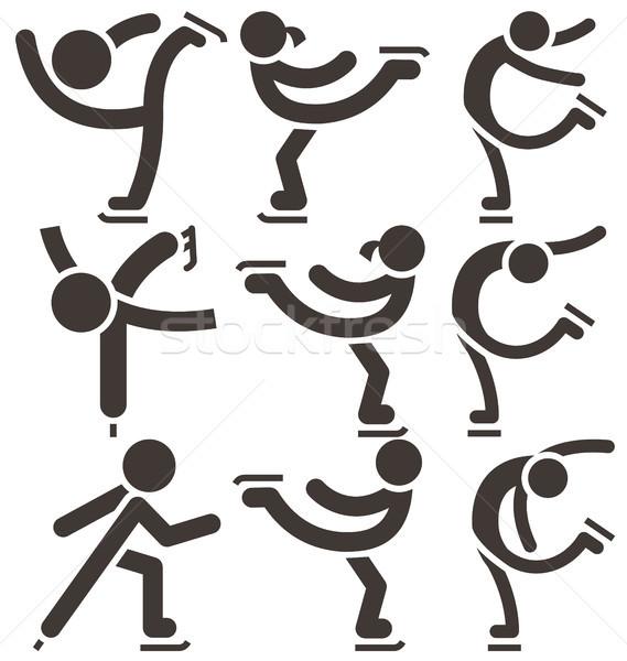 Műkorcsolyázás ikon szett ikon gyűjtemény tánc sport testmozgás Stock fotó © iaRada