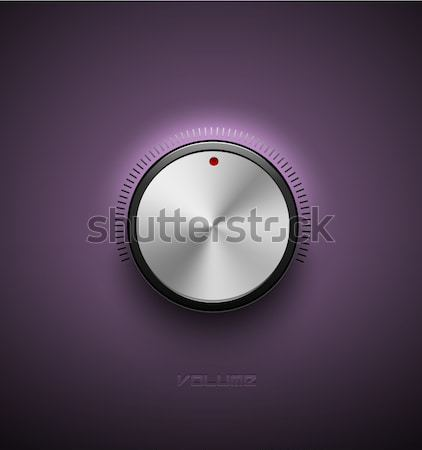 Volume button, sound control icon, music knob metal aluminum or chrome texture and scale with black  Stock photo © Iaroslava
