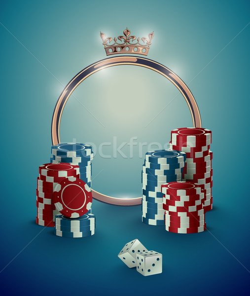 Round casino roulette golden frame with crown, stack of poker chips and white dice on deep turquoise Stock photo © Iaroslava