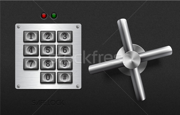 Stock photo: Realistic safe lock metal element on textured black plastic background. Stainless steel wheel