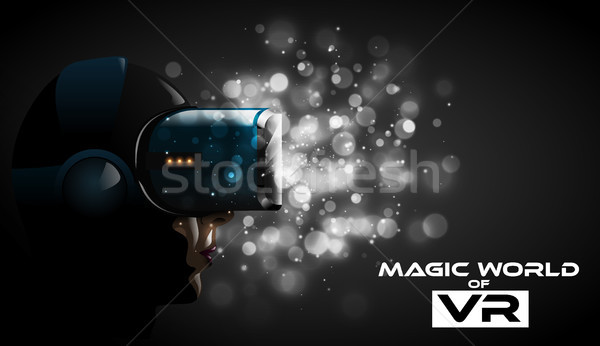 Vector young woman wearing virtual reality headset 3d glasses. Game anime movie style character Stock photo © Iaroslava