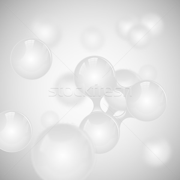 Vector abstract light grey glossy molecule design. White toms illustration. Medical background Stock photo © Iaroslava