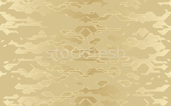 Seamless abstract vector futuristic golden cloth techno texture. Damask line background. Geometric Stock photo © Iaroslava