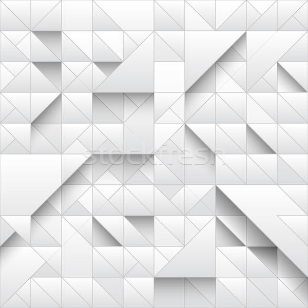 Stock photo: White triangle geometric seamless pattern background. 3d design with simple print. Shapes and shadow