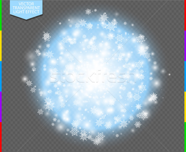 White abstract explosive with spark and snowflake. Glow blue star burst light effect. Sparkles Stock photo © Iaroslava