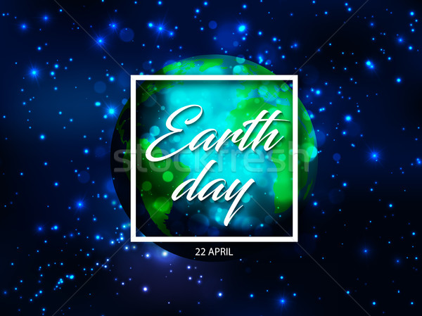 Vector world globe planet with Earth day text in white square frame with sparks light effect on blue Stock photo © Iaroslava