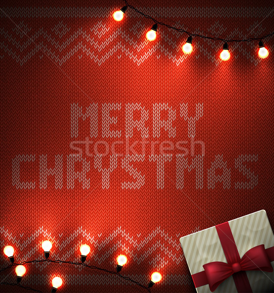 Knit background with geometric ornament and merry christmas text illuminated light bulbs. Vector Stock photo © Iaroslava