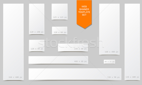 Standard size empty blank web banner set with curled edges effect and shadow isolated on white Stock photo © Iaroslava