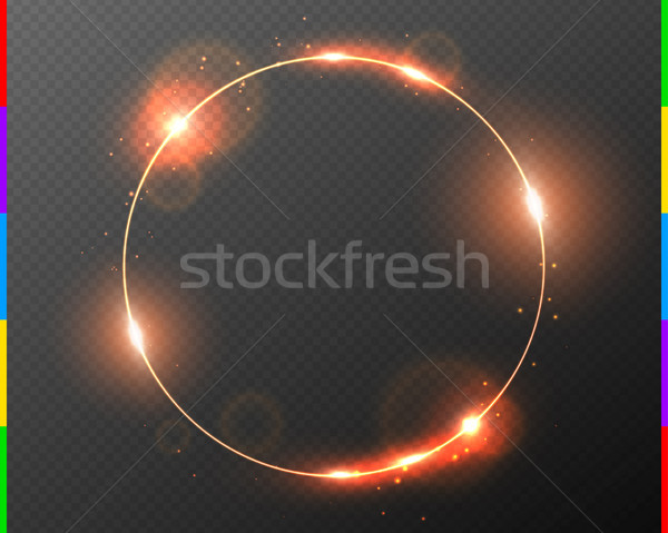 Vector red golden frame with light effect flare and sparks. Shining round Christmas banner Stock photo © Iaroslava