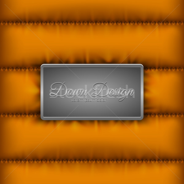 Winter quilted down jacket orange background with metal shield for logo or text message. Warm Stock photo © Iaroslava