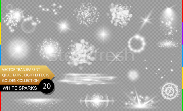 Isolated white sparks. Glow transparent vector light effect set, lens flare, explosion, glitter Stock photo © Iaroslava