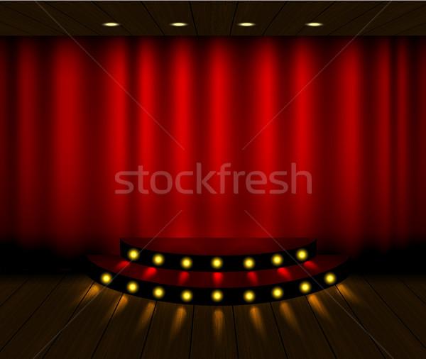 Vektor piros függöny színpad jelenet fapadló Stock fotó © Iaroslava