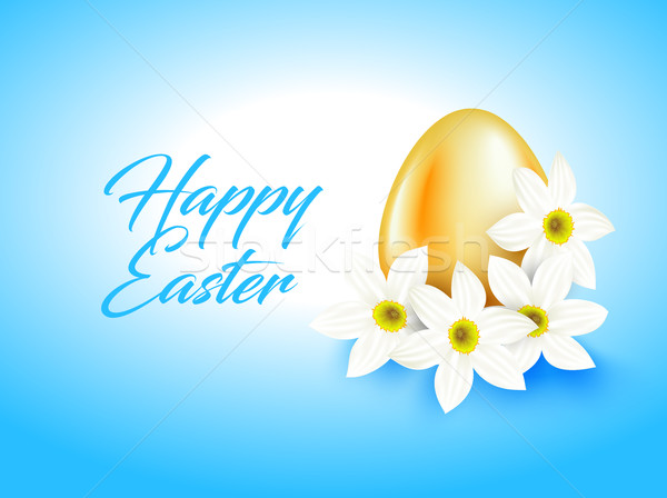 Orange color egg and white narcissus flower on light blue. Bright greeting card with Happy Easter Stock photo © Iaroslava