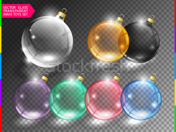 Glass christmas tree ball toy set on transparent background. Different color glossy christmas globe  Stock photo © Iaroslava