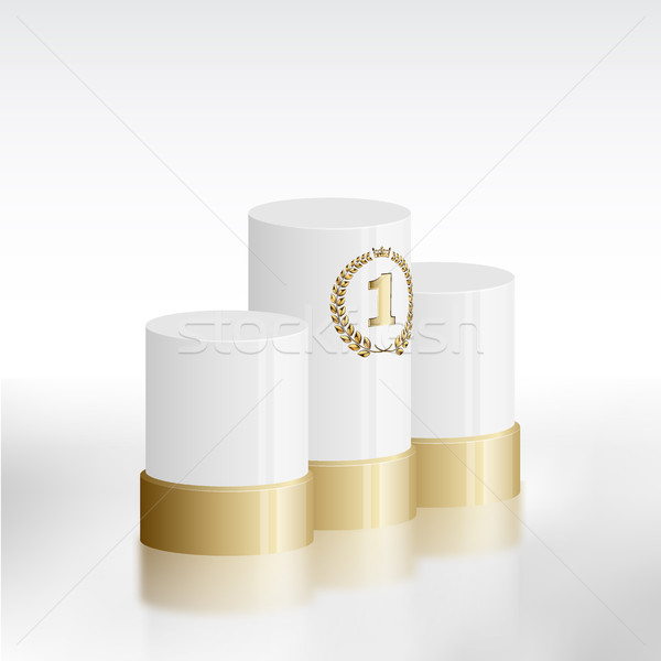 Fehér nyertesek pódium arany babér koszorú Stock fotó © Iaroslava