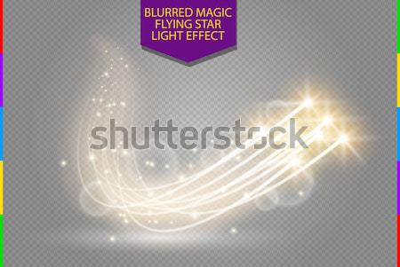 Abstract vector magic white glow star light effect with neon blur curved lines. Sparkling dust Stock photo © Iaroslava