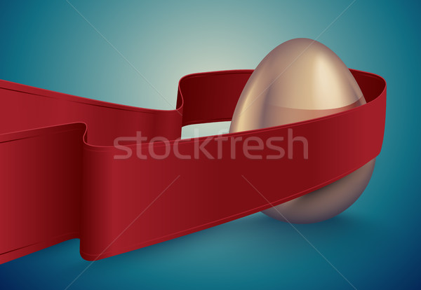 Glossy golden egg with red winding tape. Turquoise deep retro ribbon background idea. Vintage banner Stock photo © Iaroslava