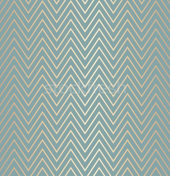Trendy simple seamless zig zag golden geometric pattern green blue background, vector illustration.  Stock photo © Iaroslava