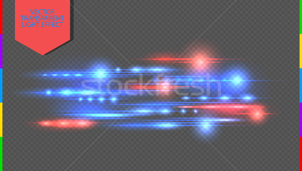 Vector red and blue special effect. Glowing streaks on transparent background. Beautiful glow  Stock photo © Iaroslava